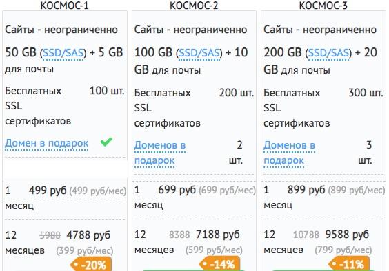 Тарифы на виртуальный хостинг - много пространства